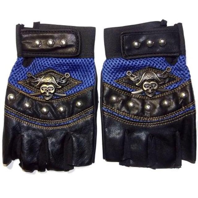 送料無料 スカル 海賊 フィンガーレス ハーフ グローブ 半指 手袋 青色 < 自動車/バイク