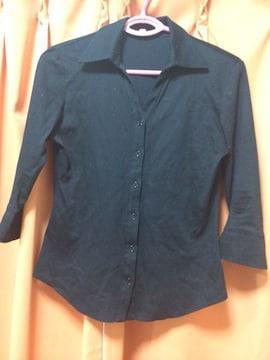 iCB◆七分袖カットソーシャツ◆Sブラック