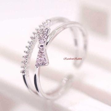 指輪 18K RGP リボン ハーフ エタニティ リング yu1113e