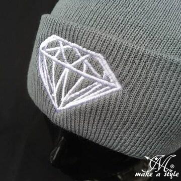 ダイヤモンド 刺繍 ニットキャップ ワッチキャップ グレーB系379