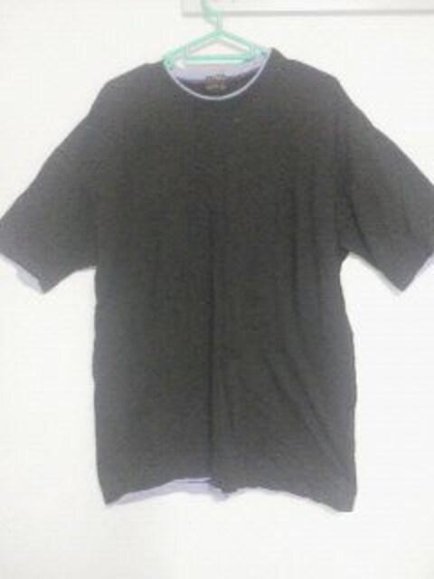 Fー156★メンズ半袖無地レイヤードシャツ ブラック LL  < 男性ファッションの