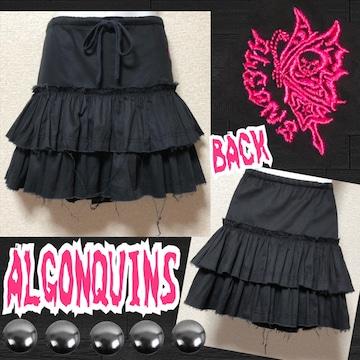【ALGONQUINS】バタフライ刺繍入カットオフ2段フリルミニ