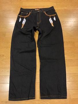 Akademiks アカデミクス  インディアン柄刺繍 大きいsizeW38 黒