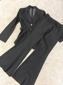 617.R☆パンツスーツ☆濃いシルバーグレー☆サイズS