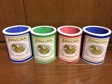 新品未使用タイ土産シンハー缶ビールケース4個セットバンコク