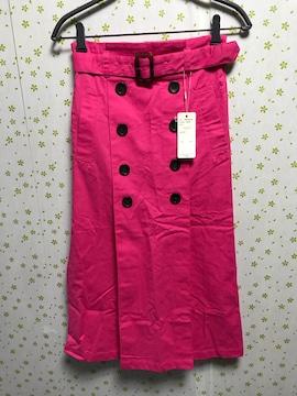 Mサイズ ビビットカラー ボックススカート ピンク