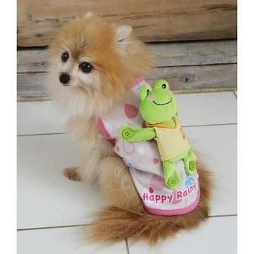 可愛い犬服 カエルをおんぶしているシャツ/ピンク/SS