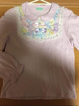 ナイルパーチ☆パープル☆くまテディ柄長袖カットソー☆Tシャツ
