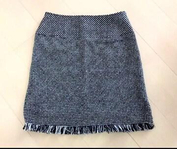 新品  裾フリンジ  ツイードスカート